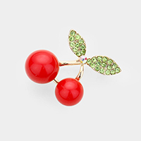 Crystal Pave Resin Cherry Brooch