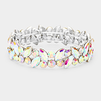 Glass Crystal Marquise Stone Cluster Stretch Bracelet