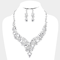 Teardrop Crystal Glass Pearl Cluster Evening Necklace