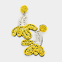 Seed Beaded Banana Dangle Earrings