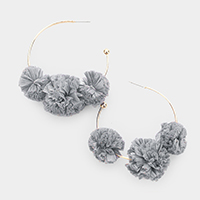 Triple Raffia Pom Pom Hoop Earrings