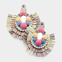 Layered Raffia Pom Pom Fan Tassel Earrings