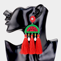 Triple Tassel Beaded Watermelon Dangle Earrings