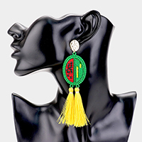 Double Tassel Beaded Watermelon Dangle Earrings