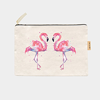 Flamingo_Cotton Canvas Eco Pouch Bag