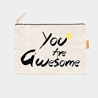 'You the Awesome' Cotton Canvas Eco Pouch Bag