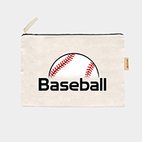 'Baseball'Cotton Canvas Eco Pouch Bag