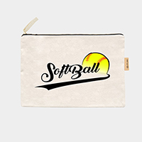 'Softball' Cotton Canvas Eco Pouch Bag