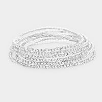 6PCS - Crystal Pave Stretch Bracelets