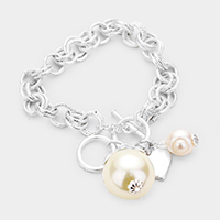 Pearl Metal Heart Charm Toggle Link Bracelet