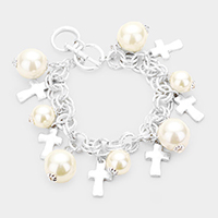 Pearl Metal Cross Charm Toggle Link Bracelet