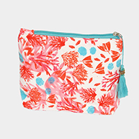 Shell Coral Print Pouch / Cosmetic  Bag