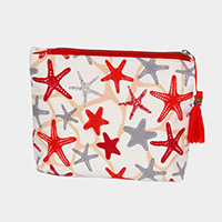 Starfish Coral Print Pouch / Cosmetic  Bag