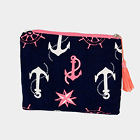 Anchor Print Pouch / Cosmetic Bag