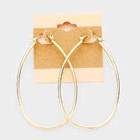 14K Gold Filled Hypoallergenic Oval Hoop Pin Catch Earrings
