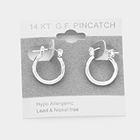 White Gold Filled Hypoallergenic Hoop Pin Catch Earrings