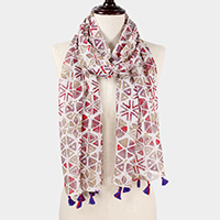 Abstract Print Scarf w/ Tassel