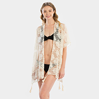 Rose Pattern Tassel Cover Up Kimono Cardigan