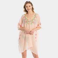 Embroidery Floral Cover Up Kimono Cardigan