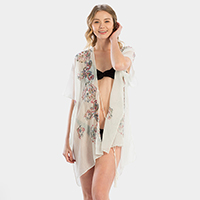 Embroidery Paisley Cover Up Kimono Cardigan