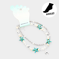 Starfish Beaded Metal Charm Anklet