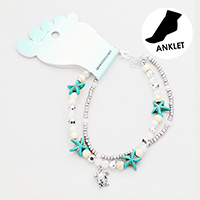 Starfish Beaded Metal Turtle Charm Anklet