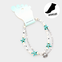 Starfish Beaded Metal Shell Charm Anklet