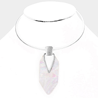 Geometric Mother of Pearl Metal Choker Necklace