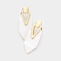 Geometric Mother of Pearl Hollow Triangle Metal Earrings