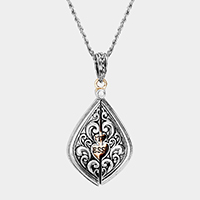 'Sisters Blessing' Embossed Metal Locket Long Necklace