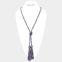 Seed Beaded Tassel Long Necklace