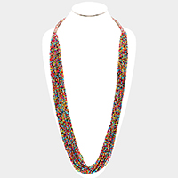 Multi Strand Seed Beaded Long Necklace