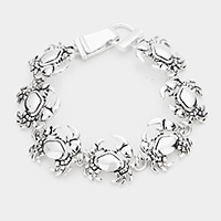 Antique Metal Crab Link Magnetic Bracelet
