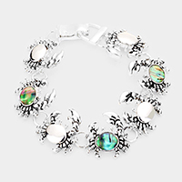 Abalone Accented Crab Magnetic Link Bracelet