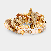3PCS - Multi Layered Natural Stone Stretch Bracelets