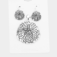 Embossed Metal Sand Dollar Pendant Set
