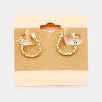 14K Gold Filled Hypoallergenic Textured Hoop Pin Catch Earrings