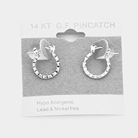 White Gold Filled Hypoallergenic Textured Hoop Pin Catch Earrings