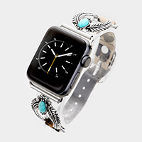 Embossed Oval Turquoise Leopard Apple Watch Band