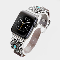 Embossed Metal Turquoise Leather Apple Watch Band