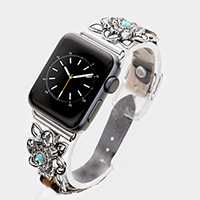 Embossed Metal Turquoise Leopard Apple Watch Band