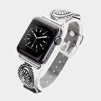 Embossed Metal Leather Apple Watch Band