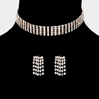 5Lines Rhinestone Pave Choker Necklace