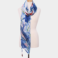 Floral Print Oblong Scarf