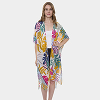 Tropical Pattern Light Long Topper Kimono Cardigan