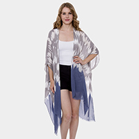 Mixed Print Long Light Topper Kimono Cardigan