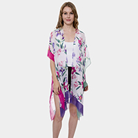 Stripes Pattern Super Light Long Topper Kimono Cardigan