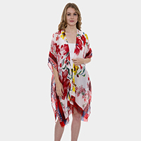 Floral Pattern Super Light Long Topper Kimono Cardigan