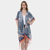 Tropical Leaves Flamingo Super Light Long Topper Kimono Cardigan