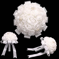 Pearl Crystal Embellished Ribbon Floral Wedding Bouquet